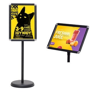 Goplus Adjustable Pedestal Poster Stand Aluminum Snap Open Frame For 13'' x 18'' Graphics - Black