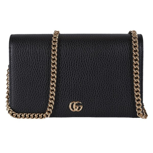 a2a716100821 Gucci Women's Black Leather GG Marmont Mini Chain Crossbody Purse Bag