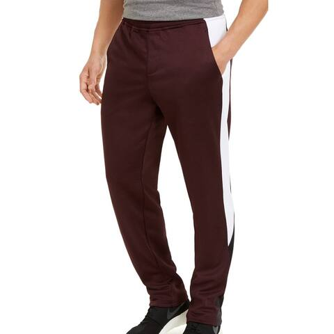 Ideology Mens Sweatpants Red Large L Marled Fleece Colorblocked Stretch