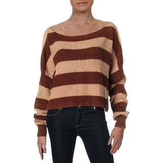 Free People Just My Stripe Women's Cotton Knit Cropped Sweater