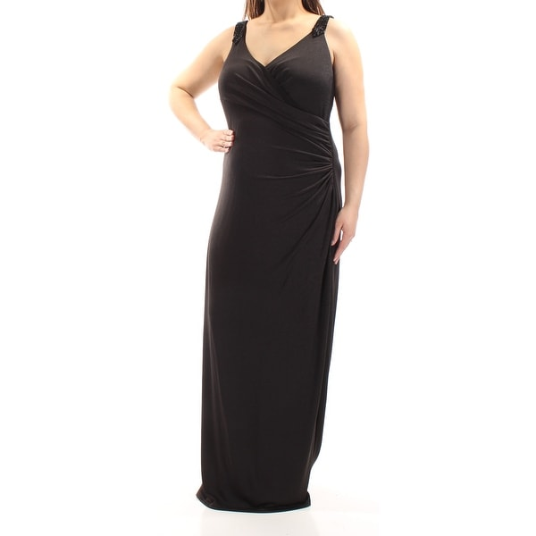 Ralph Lauren Womens Black Beaded Sleeveless V Neck Full Length Sheath Evening Dress Size 16