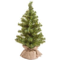 "Mini Canadian Pine Tree In Burlap 108 Tips, 15""-"