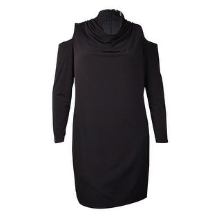 DKNYC Women's Cold-Shoulder Cowl Neck Dress (M, Black) - M
