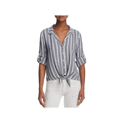 Bella Dahl Womens Button-Down Top Woven Striped