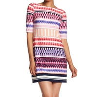 Eliza J Purple Women's Geo Print Striped Sheath Dress