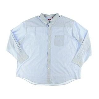 Izod Mens Big & Tall Cotton Pinstripe Button-Down Shirt