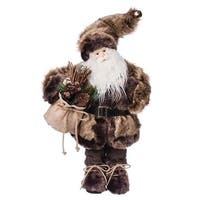"18"" Old World Father Christmas Woodland Fur Coat Santa Claus Figurine"