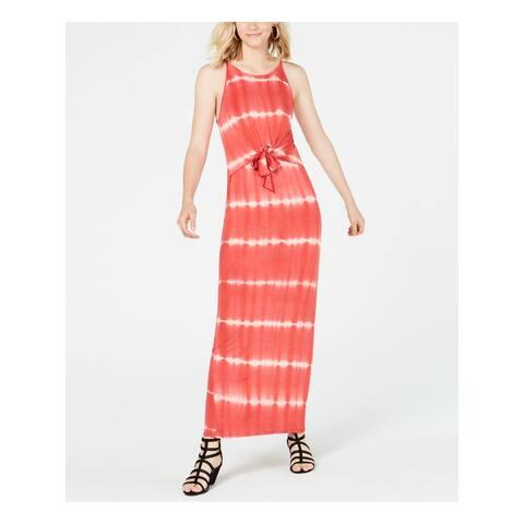 ULTRA FLIRT Womens Red Tie Dye Sleeveless Maxi Sheath Dress Size M