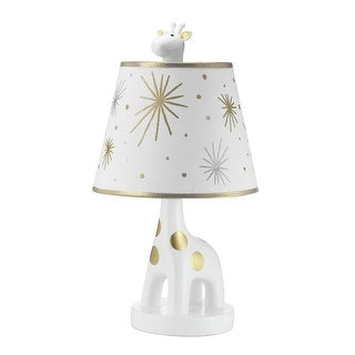 Lambs & Ivy Signature Moonbeams White/Gold Giraffe Nursery Lamp with Shade & Bulb