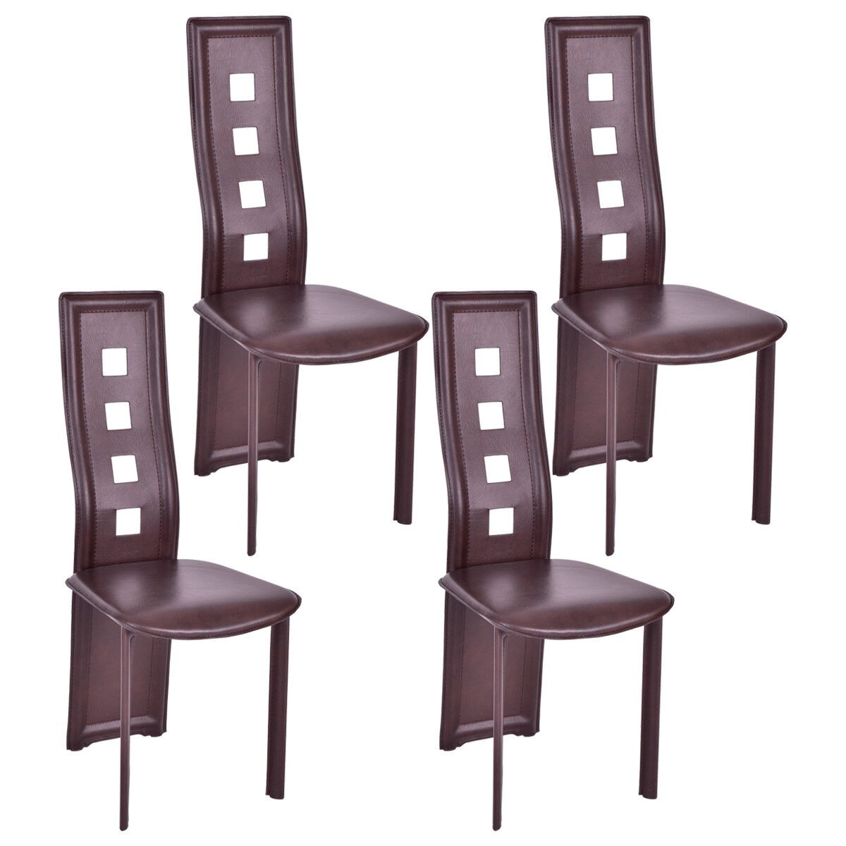 4-Pieces Dining Chair Padded Seat Steel Frame Curved High Backrest ...