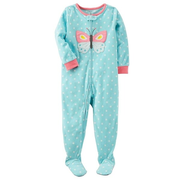 ecc5afe8a Shop Carters Girls 12-24 Months Butterfly Fleece Sleeper Pajama - Blue - 24  months - Free Shipping On Orders Over $45 - Overstock - 26268207