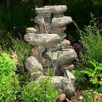 Sunnydaze Rock Falls Outdoor Waterfall Fountain with LED Lights 34 Inch Tall