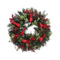 "24"" Pre-Decorated Cardinal, Berry, Pine Cone Artificial Christmas Wreath - Unlit - green"