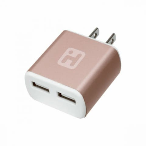 iHome IH-CT561AR Wall Charger with 2-USB Input, Rose Gold Tone, 2.1 Amp