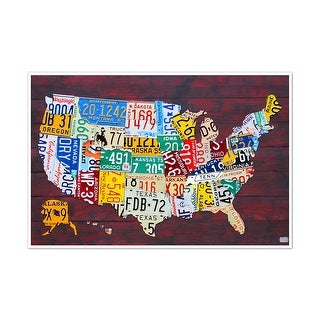 Mounted License Plate Map Of The US X Inch Wood Plaque - Us map license plates