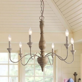 """Link to Fello Farmhouse 6-Light French Country Wooden Chandelier - D29.5"""" x H24.5"""" Similar Items in Chandeliers"""