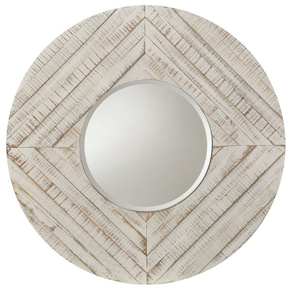 "StyleCraft SC-MI12677 36"" Diameter Circular Beveled Wood Framed Hanging Decorative Mirror - Whitewash"
