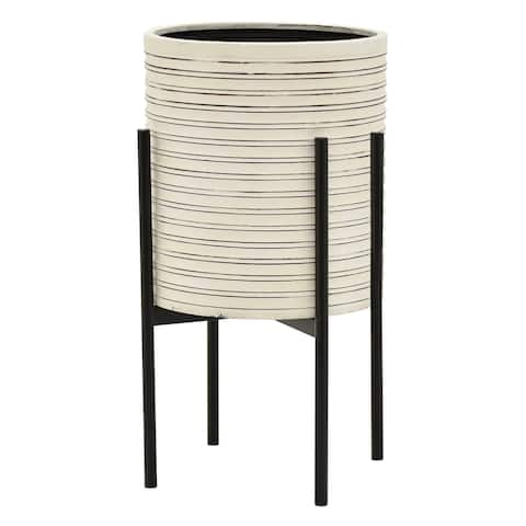 """Plutus Brands Metal Planter With Stand 22"""" H in White"""