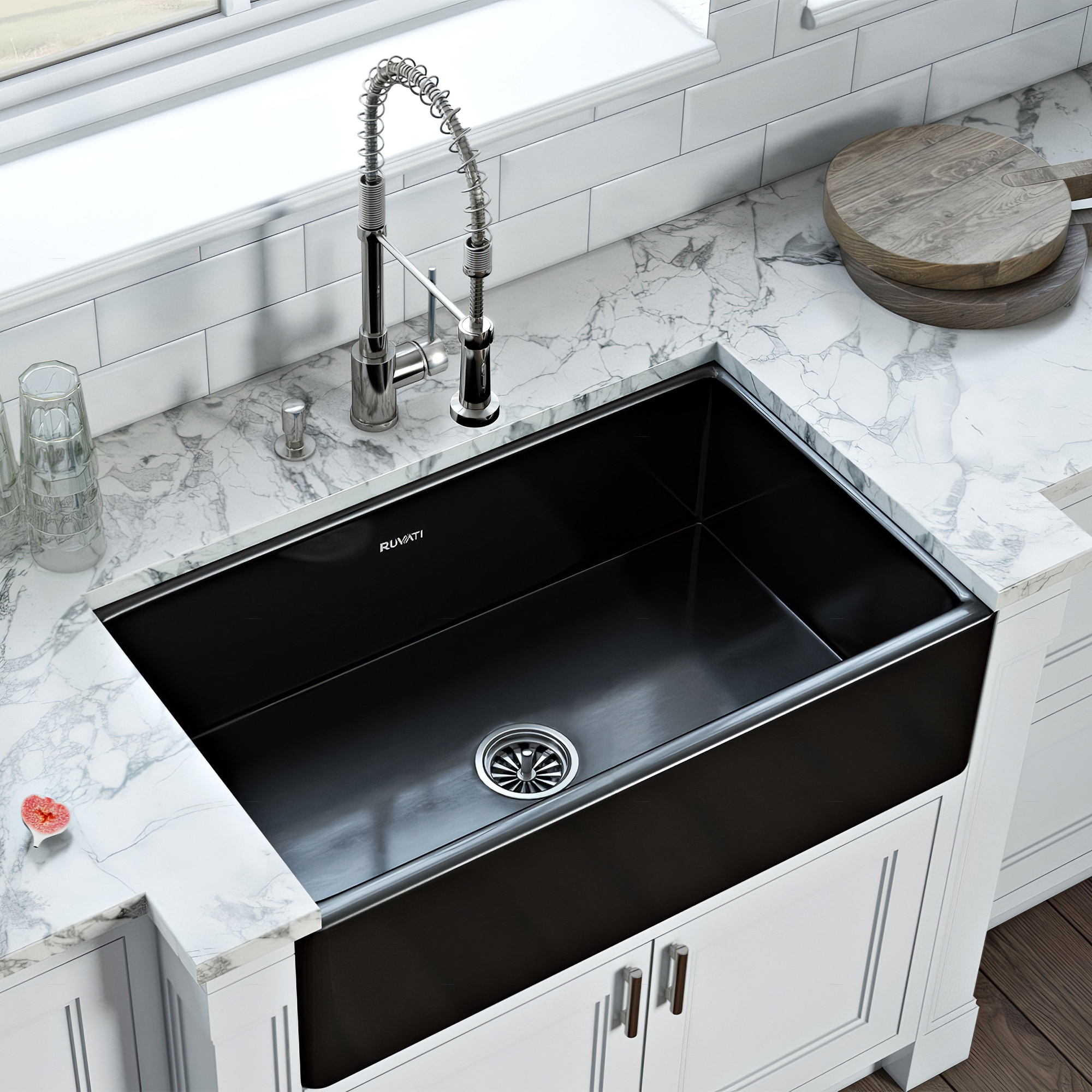 Picture of: Shop Ruvati 33 X 20 Inch Fireclay Reversible Farmhouse Apron Front Kitchen Sink Single Bowl Gloss Black Rvl2300bk Overstock 26959139