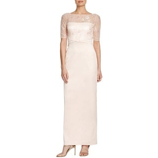 Kay Unger New York Womens Formal Dress Lace Ruched
