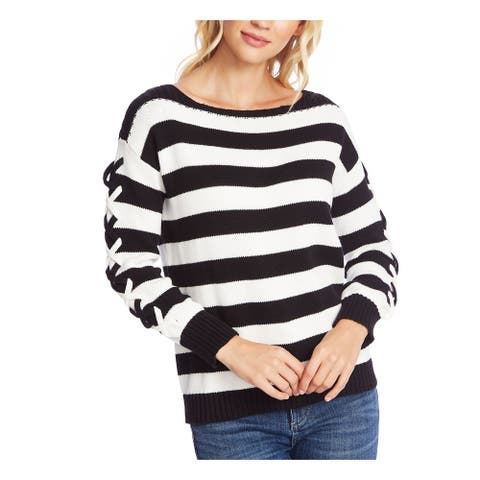 CECE Womens Black Striped Long Sleeve Boat Neck Sweater Size M