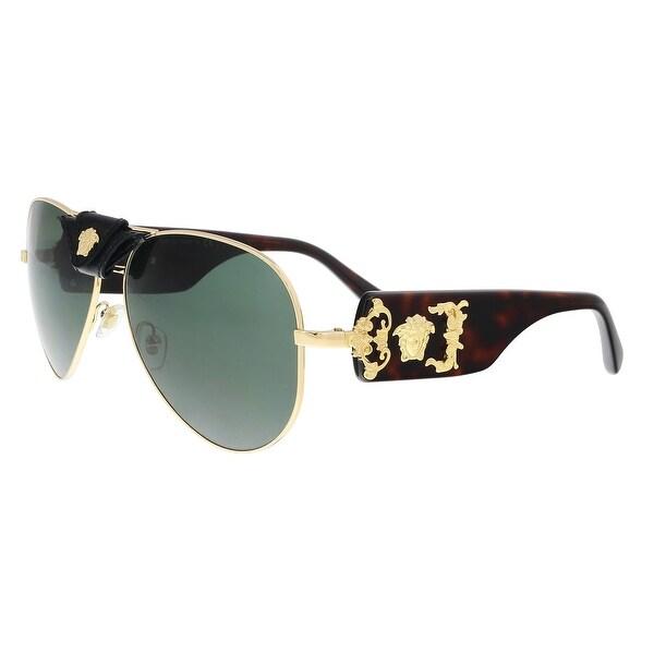 94cedb6fd019 Shop Versace VE2150Q 100271 Gold Aviator Sunglasses - 62-14-140 - On ...