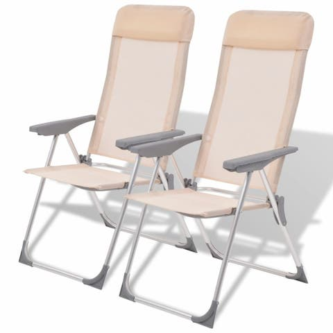 "vidaXL Camping Chairs 2 pcs Cream Aluminum 22""x23.6""x44.1"""
