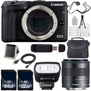 Canon EOS M3 Mark III 24.2 Mp Mirrorless Camera (International Model) (Black) + f/2 STM Lens Saver Bundle