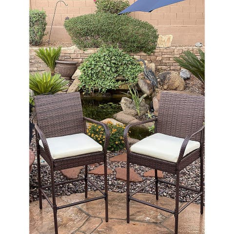 KoKoMo Rattan Outdoor Bar Stools with Armrest and Footrest 2 Pack