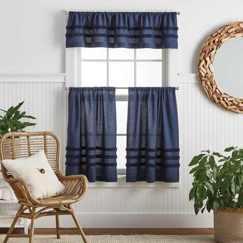 """Martha Stewart Water's Edge 3-pc Valance and Tier Set - 1-Valance and 2-36"""" Tiers"""