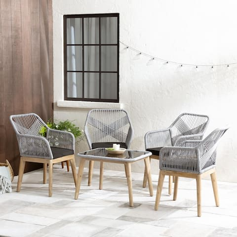 New Heights Huxley Woven Rope Outdoor Conversation Set