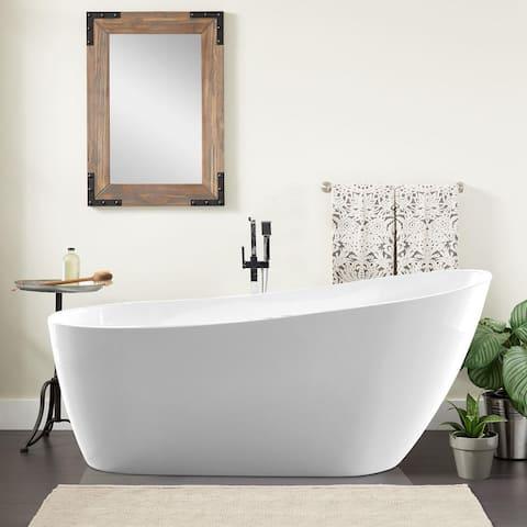 """Vanity Art 54.7-inch Freestanding Acrylic Bathtub - 55"""" x 28"""""""