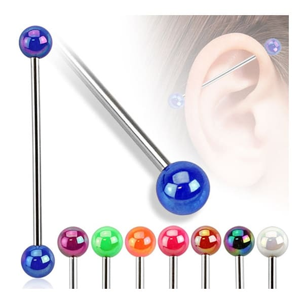 Metallic Coated Acrylic Ball 316L Surgical Steel Industrial Barbell (Sold Individually)