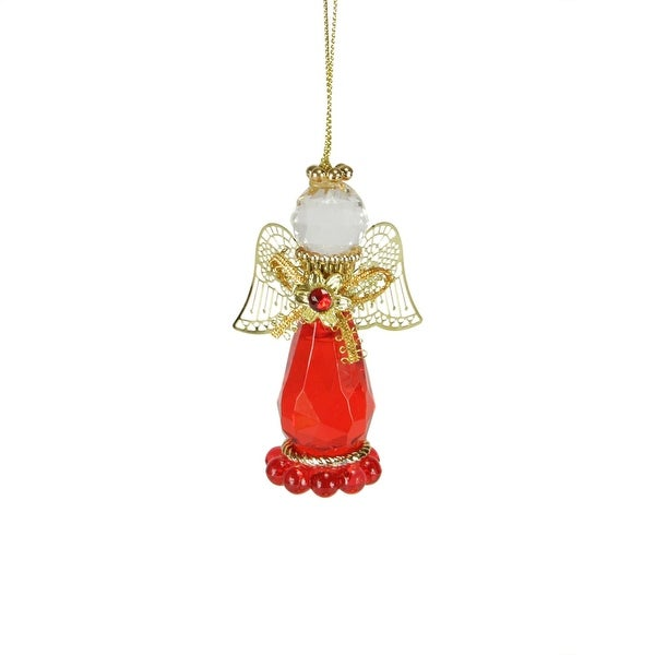 "3.25"" January Garnet Birthstone Gem Angel Christmas Ornament - RED"