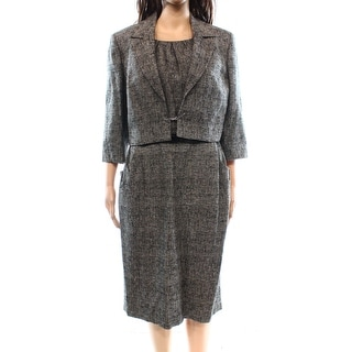 Kasper NEW Black Women's Size 10 Tweed Textured Seamed Dress Suit Set