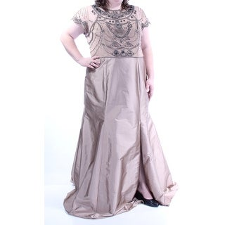 Womens Brown Short Sleeve Full Length Fit + Flare Formal Dress Size: 14W
