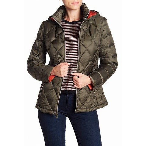 Lucky Brand Green Orange Womens Size Medium M Puffer Quilted Jacket