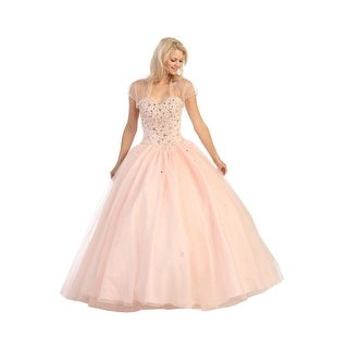 Strapless Beaded Tulle Ball Gown (Option: L)