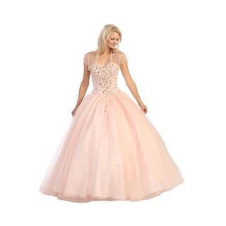 Strapless Beaded Tulle Ball Gown
