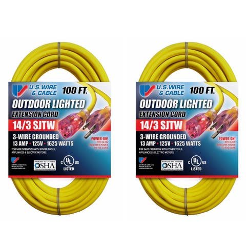 US Wire and Cable 100 Foot Lighted Extension Cord (2-Pack)