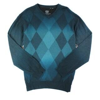 Bugatchi Uomo NEW Green Mens Size Large L V-Neck Wool Argyle Sweater