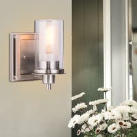 Costway Vanity Light Wall Mounted One-Light Bathroom Vanity Fixture Brushed Nickel Bulb