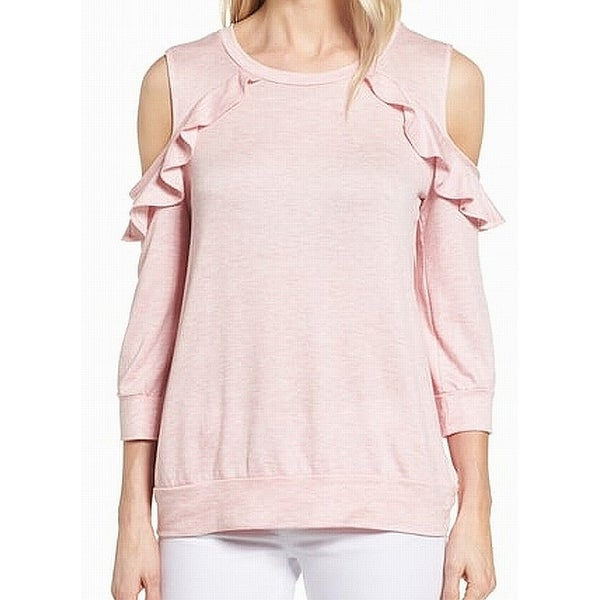 3c37434bd42b6 Shop Bobeau Pink Ruffled Cold-Shoulder Women s Large L Tunic Sweater - Free  Shipping On Orders Over  45 - Overstock - 22438129
