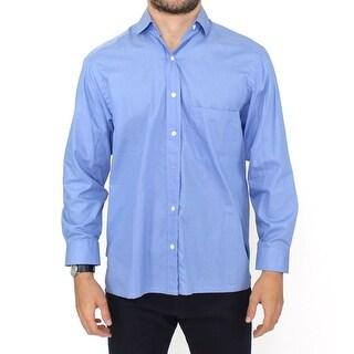 Ermanno Scervino Blue Cotton Dress Classic Fit Shirt