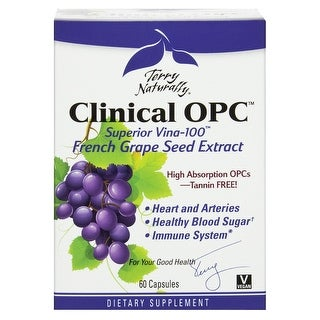 Terry Naturally Clinical OPC 150mg - 60 Capsules - French Grape Seed Extract VX1 - Heart & Arteries - Immune System