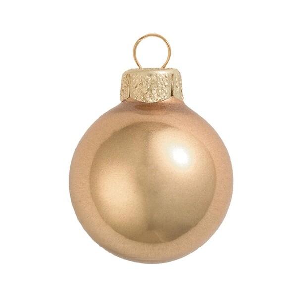 "Metallic Champagne Gold Glass Ball Christmas Ornament 4"" (100mm)"