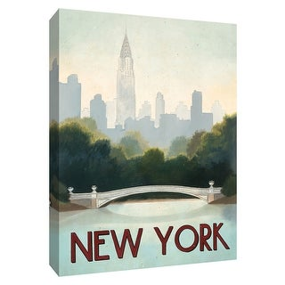 """PTM Images 9-154810  PTM Canvas Collection 10"""" x 8"""" - """"City Skyline New York"""" Giclee Chrysler Building Textual Art Print on"""