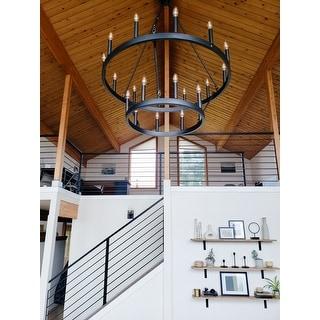 "The Gray Barn Highclere Farmhouse 20-light Wagon Wheel Chandelier - 40""x40""x 47.83"""