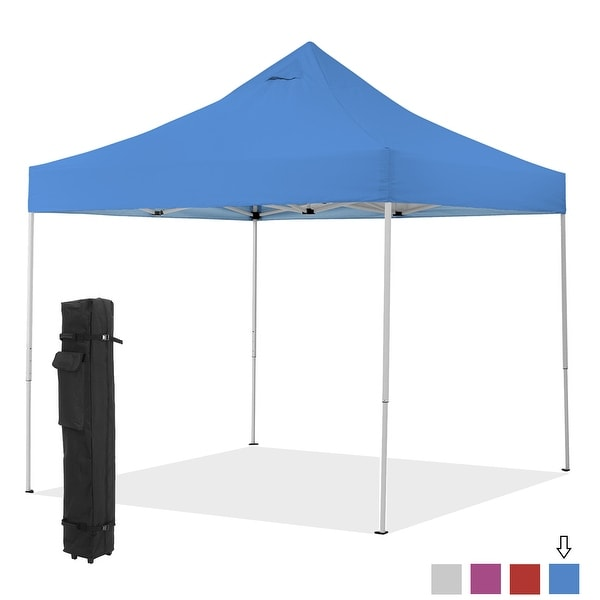 10'x10' Commercial Pop Up Outdoor Gazebo Canopy Tent 3 Adjustable Heights Instant Shelter with Wheeled Carry Bag. Opens flyout.