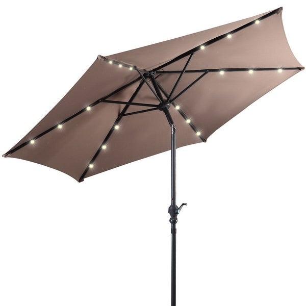 Costway 9ft Patio Solar Umbrella LED Patio Market Steel Tilt w/ Crank Outdoor (Tan) - Tan